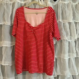 Torrid size 5 or 28 red striped tee